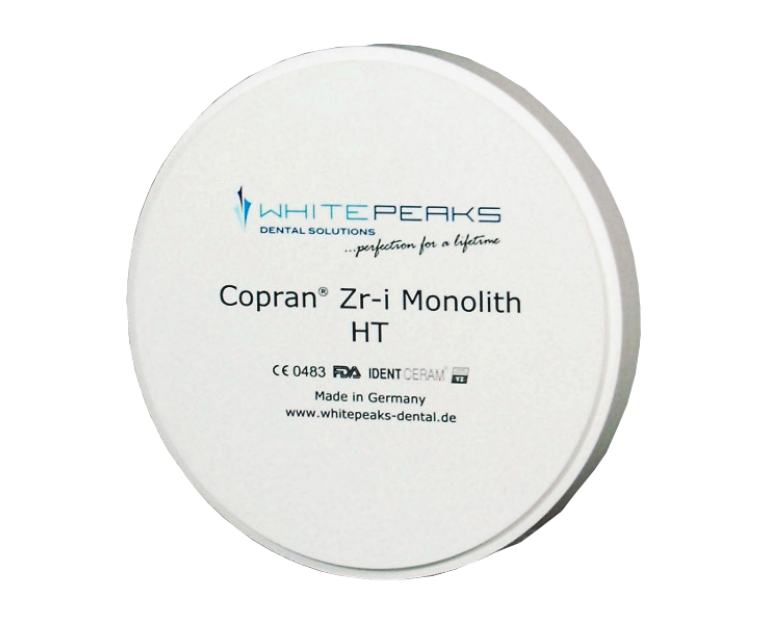 Disco Whitepeaks / Circonio Translúcido Blanco y Precoloreado